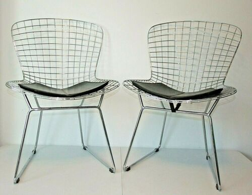 Pair Mid-Century Modern Harry Bertoia Style Chairs w/Pads, Chrome Knoll Wire