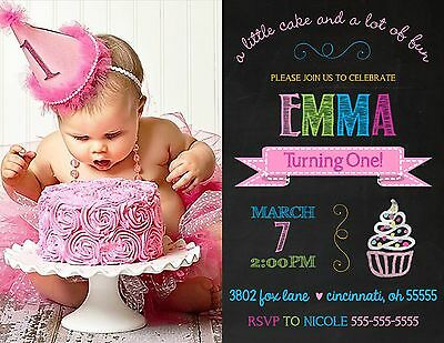 Chalkboard Cupcake Birthday Party Invitation Any Colors Add Photo Any Colors (Cupcake Birthday Party Invitation)