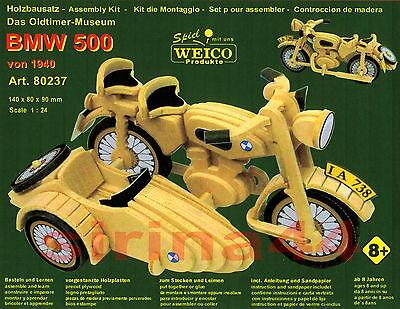 """3D-Puzzle Modellbausatz """"BMW 500"""" Motorrad mit Beiwagen von 1948 Holz 1:24 Weico"""