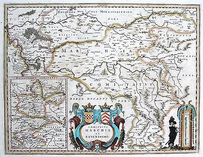 Janssonius: Orig. altkolorierte Kupferstich Landkarte Ruhrgebiet Ruhrpott; 1645