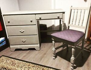 Chalk Painted Antique Desk with Chair