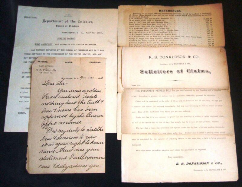 4 Civil War Veteran Related Solicitation Documents L. Bingham H.D. Phillips