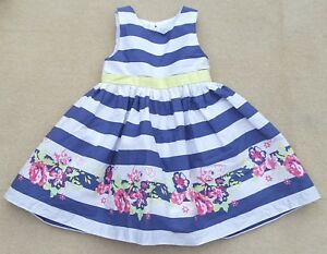 EMMA BUNTON Baby Girls White Blue Stripey Sleeveless Dress Cotton 9-12 Months