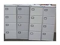 Bisley Grey 4 Drawer Anti Tilt Metal Foolscap Lockable Filing Cabinet + 2 Keys