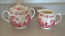 Mason's Patent Ironstone Watteau Covered Sugar Bowl & Creamer