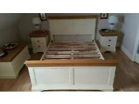 Oakland Furniture Cream and Natural Wood Double Bedframe