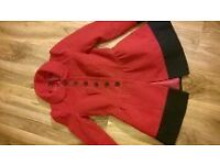 Ladies jacket coat size 10 NEW RED WITH BLACK TRIM can post