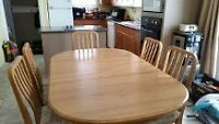Solid Oak / Custom made Dining table and Cabinet