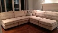 Beautiful beige L-shaped couch