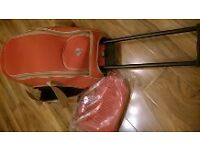 New airline approved wheeled pull along luggage suitcase weekend bag orange