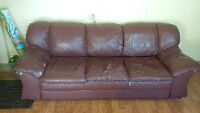 Athabasca- Burgundy leather couch