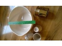 Kitchen bundle lot large 11 inch cream bowl 3 Ikea crockery mug gold glass storage container all £5
