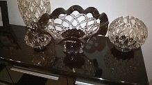 4 black and clear glass vase and fruit bowl and bowl set cost over£200 from wildings