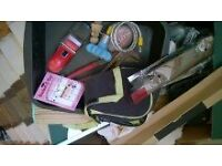 CAR BOOT LOT 100+ ITEMS variety guitar stand hand tools formal shoes kitchen glassware