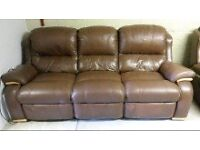 Leather Suite 3 seater recliner with two chairs, recliner.