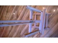 Folding wooden easel & 2 new art canvas canvasses