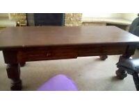oak, Tudor Brown Coffee Table, two draws underneath for storage, £30 ONO