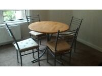 Beautiful Round Pine Kitchen Table and chairs