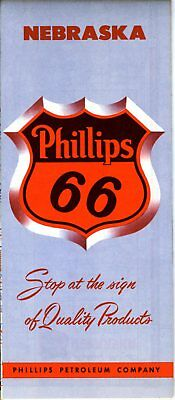 1951 Phillips 66 Road Map: Nebraska NOS