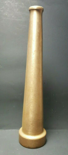 """Vintage 10"""" Tapered Solid Brass Fire Hose Nozzle 1-1/2"""" Base Functional"""