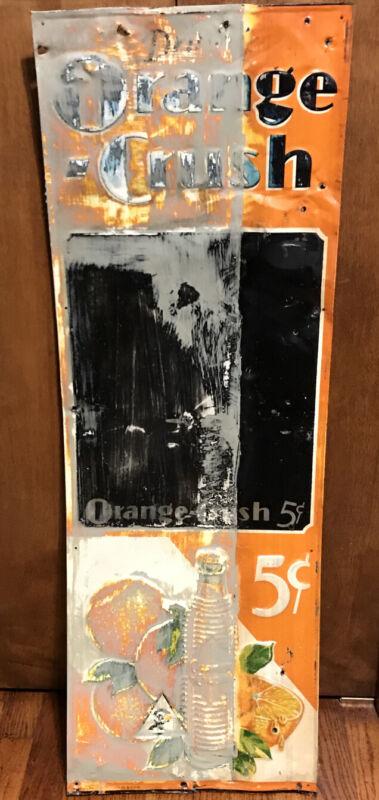 "#1 Genuine Vintage Embossed Tin 1932 Orange Crush Chalkboard Sign With ""Crushy"""