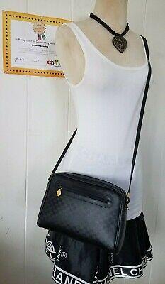 Vintage Gucci Crossbody Bag Clutch Purse GG Mono Web 80s Auth PVC Leather