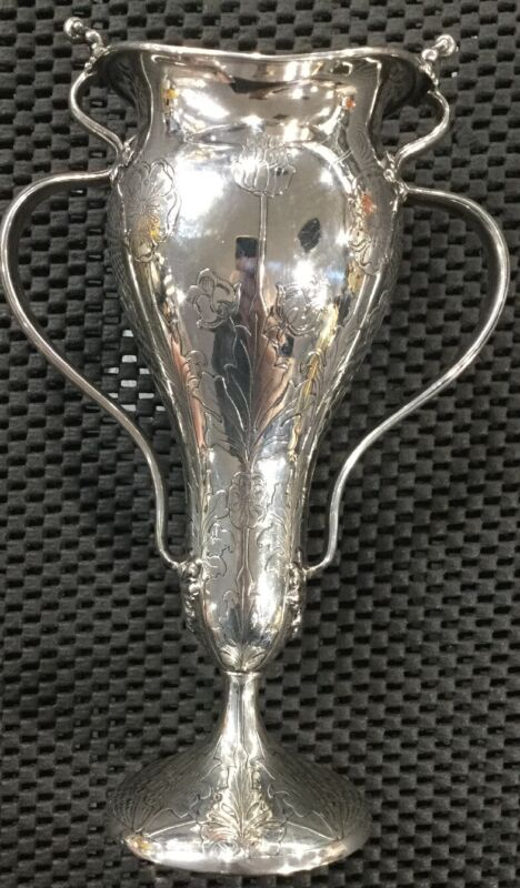 ANTIQUE TIFFANY ART NOUVEAU STERLING SILVER VASE BEAUTIFUL CONDITION 7X4.5 INCH
