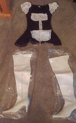Carrini CA Thigh High White Stripper Boots Wet Heel w/ Naughty Maid Costume sz 8 - Costume White Boots