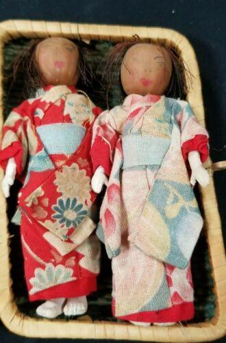 Vintage Wood Face JAPANESE ICHIMATSU DOLLS IN BASKET CASE