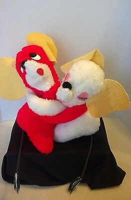 """Vintage 11"""" HUGGING MICE MOUSE red white plush stuffed toys"""