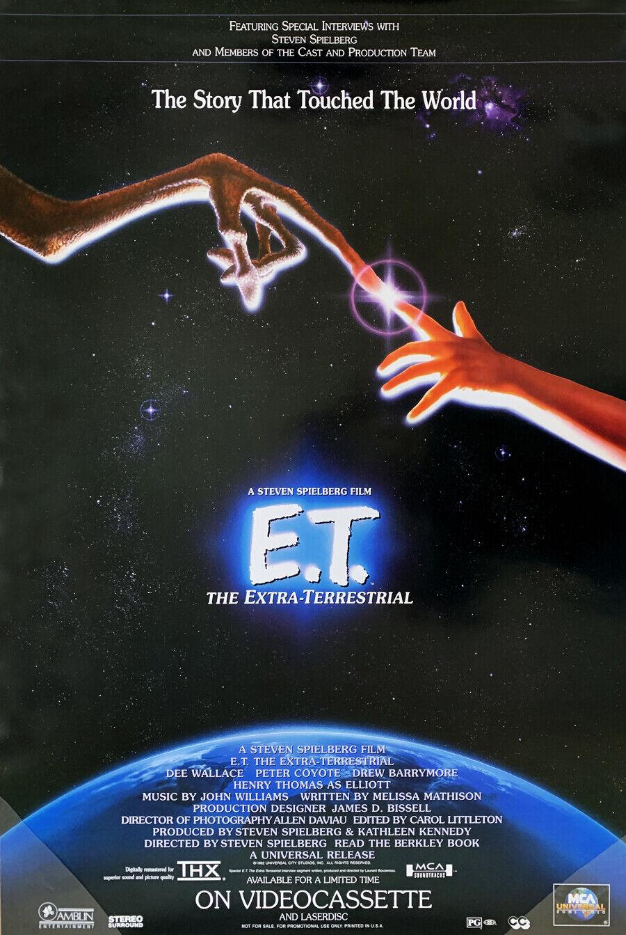 E. T. THE EXTRA TERRESTRIAL VIDEO MOVIE POSTER ORIGINAL 27x40 STEVEN SPIELBERG