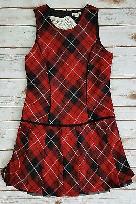 The Children's Place Girls 10 Red Black Plaid Tartan Jumper Dress NWT