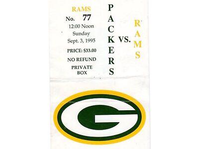 1995 ST LOUIS RAMS @ GREEN BAY PACKERS INAUGURAL GAME TICKET STUB  LAMBEAU