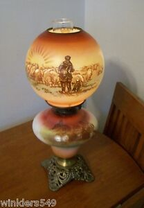 Antique GWTW Gone with the Wind Parlor Oil Lamp Hand Painted Shepard Sheep Scene