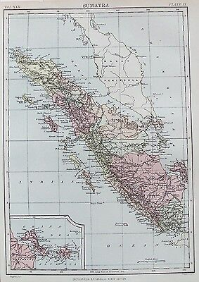 OLD ANTIQUE MAP SUMATRA INDONESIA ASIA by JOHNSTON c1880's 19th C PRINTED COLOUR