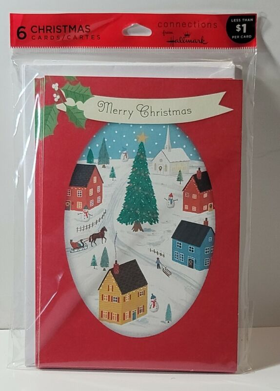 """Christmas Cards Pack """" Merry Christmas small town """" 6 Cards with Envelopes G7"""