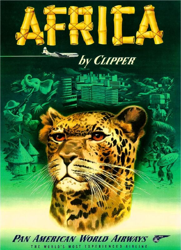 Africa by Clipper Cheetah African Vintage Travel Advertisement Art Poster