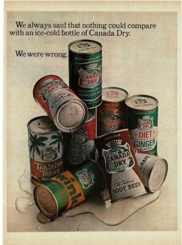 1965 CANADA DRY 9 different sodas in cans Vintage Print Ad