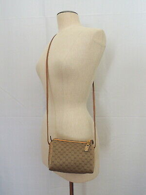 Vintage GUCCI Tan Monogram Mini Cylinder Crossbody Bag