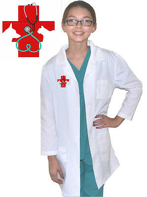 Kids Veterinarian Lab Coat with Red Cross Embroidery Design for little Doctors - Lab Coat For Kids