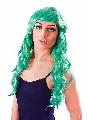 LADIES GREEN VIXEN WAVY WIG Glamour FANCY DRESS Party Wear Cos Play NEW - Vixen Halloween Party