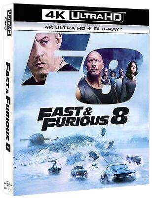 Fast & Furious 8 (4K Ultra HD + Blu-Ray Disc-13 aprile 2017-Vin Diesel) NUOVO