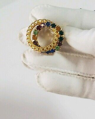 Vintage Multi Colored Rhinestone Circle Over Lay Gold Tone Brooch Pin