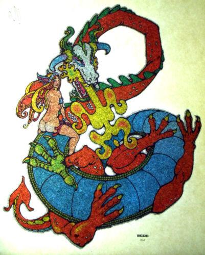 PUFF THE MAGIC DRAGON T-SHIRT IRON-ON TOPLESS BIKINI BABE 70s 80s DRUG TRANSFER
