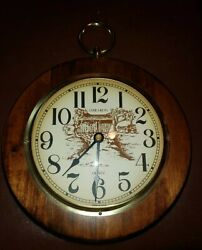Oak Wood Verichron Quartz Oval Wall Clock Harris and Mallow tested works well