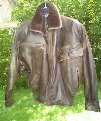 GIANNI VERSACE Vintage Leather Jacket 80's  Bomber Retro Biker Olive Brown