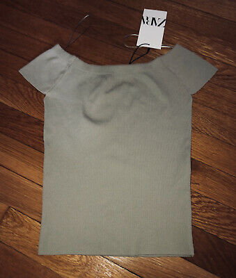 NWT ZARA TAUPE BEIGE RIBBED KNIT CROP TOP OFF THE SHOULDER SIZE S
