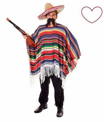 Erwachsene Mexikanisch Kostüm Kleid Outfit Sombrero Poncho Zigarre - Schnurrbart Kleid Kostüm