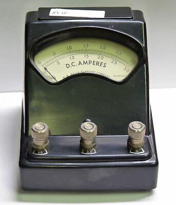 Vintage Welch 3031c Bakelite Dc Ampere Meter Ammeter 0-3a 0-30a Free Ship M10