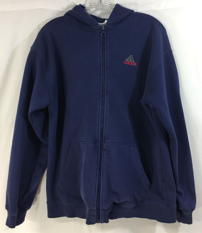 Adidas Blue Youth Zip Up Jacket Hoodie Embroidered Logo Size XL (18/20)